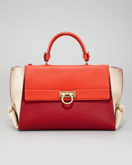Salvatore Ferragamo Sofia Colorblock Flap Satchel Bag, Red