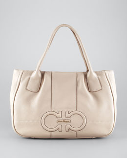 Salvatore Ferragamo Izzie Gancini-Embossed Tote Bag, Almond
