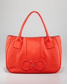 Salvatore Ferragamo Izzie Gancini-Embossed Tote Bag, Red