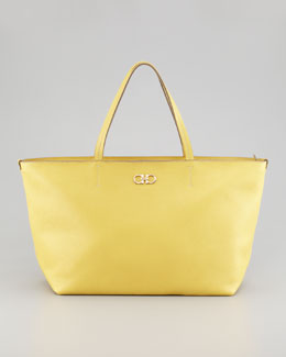 Salvatore Ferragamo Bice Pebbled Leather Tote Bag, Yellow