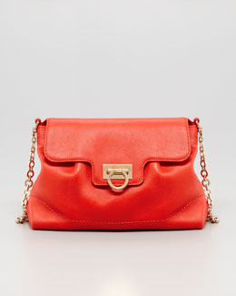 Salvatore Ferragamo Amelie Soft Leather Shoulder Bag, Red