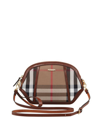 Mini Check Crossbody Bag, Dark Tan