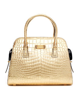 Michael Kors  Gia Metallic Crocodile-Embossed Satchel Bag