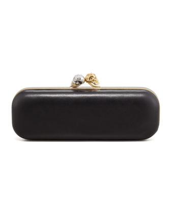 Knuckle-Duster Leather Box Clutch Bag