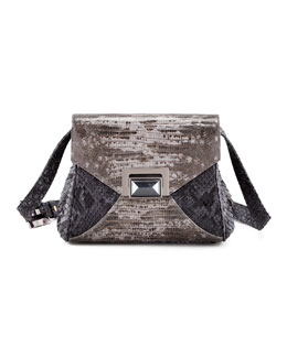 Kara Ross Itty Bitty Trinity Python Lady Bag, Gray Tejus