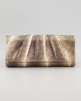Lauren Merkin Caroline Metallic Snake-Embossed Clutch Bag