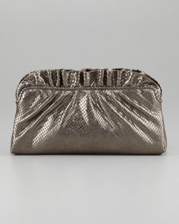 Lauren Merkin Georgie Python-Embossed Ruffle-Top Clutch Bag, Gunmetal