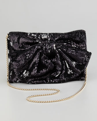 Sequined Bow Shoulder Bag,