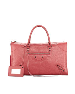 Balenciaga Classic Work Satchel Bag, Rose Bombon