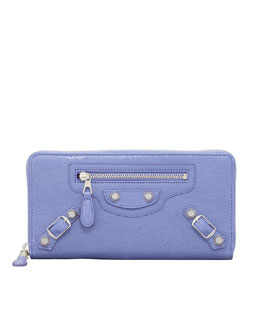 Balenciaga Giant Nickel Continental Zip Wallet, Mauve