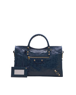 Balenciaga Giant 12 Golden City Bag, Bleu Mineral