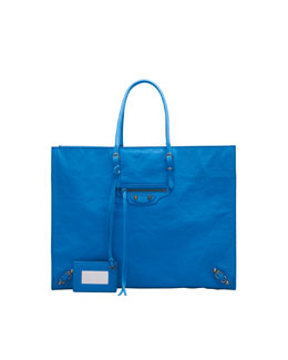 Balenciaga Papier A4 Leather Tote Bag, Sky Blue