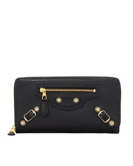 Balenciaga Giant 12 Golden Continental Zip Wallet, Black