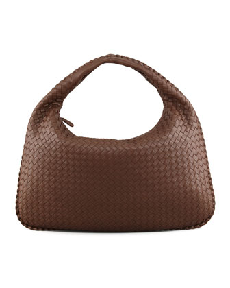 Veneta Large Woven Hobo Bag, Brown
