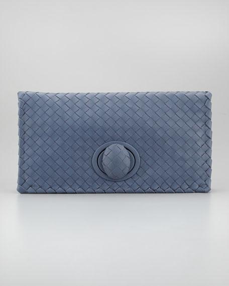 Veneta Turnlock Clutch Bag, Bluee
