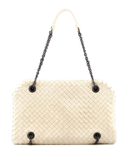 Bottega Veneta Veneta Small Chain Shoulder Bag, Off White