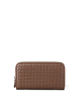 Bottega Veneta Continental Zip-Around Wallet, Brown