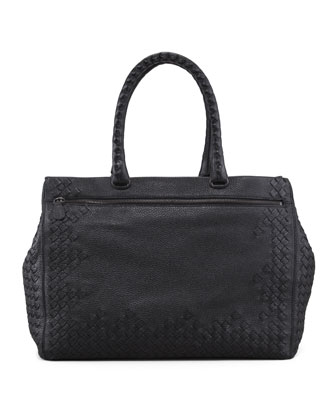 Cervo Medium Woven Frame Tote Bag, Black