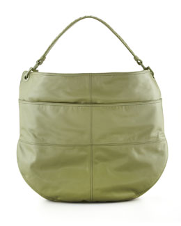 Bottega Veneta Setas Woven-Strap Hobo Bag, Green