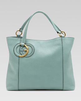 Gucci Twill Leather Tote, Splash