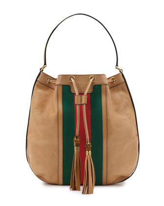 Rania Leather Drawstring Shoulder Bag, Classic Khaki