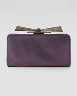 Overture Judith Leiber Carrie Metallic Leather Clutch Bag, Purple