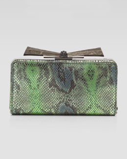 Overture Judith Leiber Carrie Snake-Embossed Leather Clutch Bag, Green