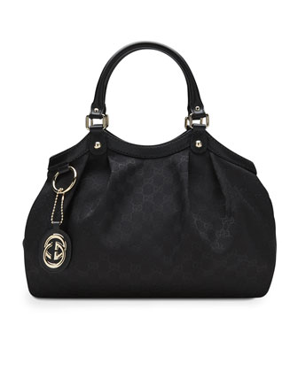 Sukey Medium Original GG Canvas Tote, Black