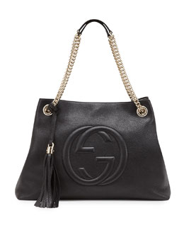 Gucci Soho Leather Medium Chain-Strap Tote, Black