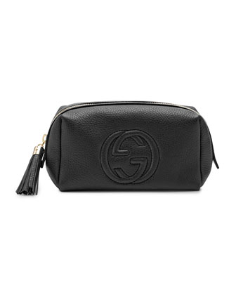 Soho Medium Leather Cosmetic Case, Black