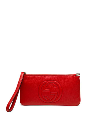 Soho Leather Wrist Wallet, Red