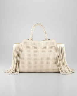 Salvatore Ferragamo Arianna Fringe-Trim Woven Leather Satchel