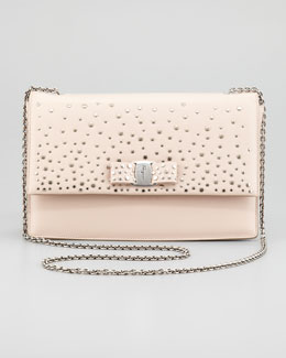 Salvatore Ferragamo Ginny Studded Shoulder Bag, New Bisque