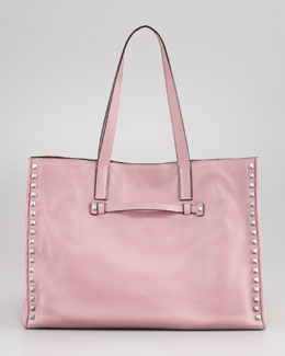 Valentino Rockstud Medium Tote Bag, Pop Gardenia