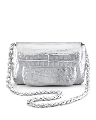Crocodile Compartmentalized Crossbody Bag, Silver