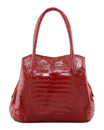 Shiny Crocodile Compartmentalized Tote Bag, Red