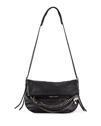 Biker Chain-Detailed Shoulder Bag, Black