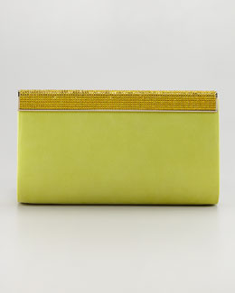 Jimmy Choo Cayla Crystal-Top Leather Clutch Bag, Citrine