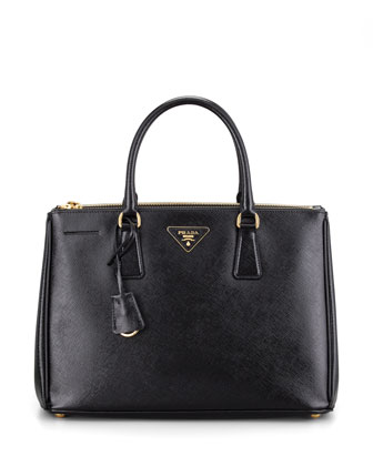 Saffiano Executive Small Tote Bag, Nero