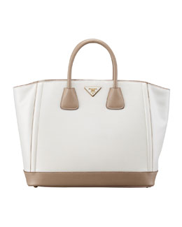 Prada Saffiano Large Bi-Color Tote Bag, Talco/Visone