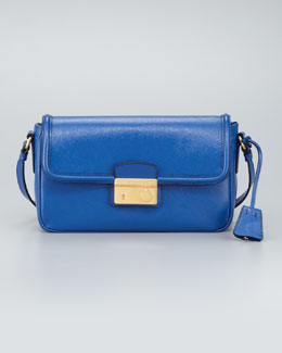 Prada Saffiano Vernice Small Shoulder Bag, Azzurro