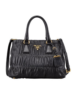 Prada Napa Gaufre Small Satchel Bag, Nero