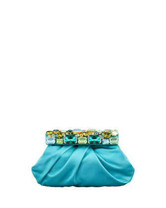 Raso Jeweled Satin Clutch Bag, Turquoise