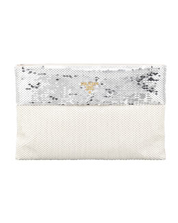 Prada Bicolor Sequined Pouch Clutch Bag, Argento/Talco