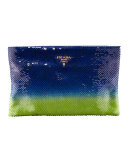 Prada Degrade Sequin Pouch Clutch Bag, Baltico