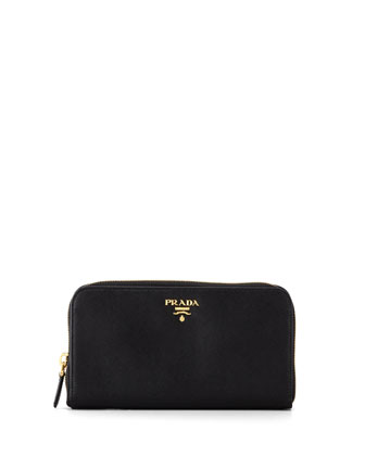 Saffiano Zip-Around Wallet, Nero