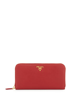 Saffiano Zip-Around Wallet, Fuoco