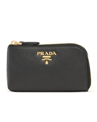 Saffiano Key Pouch, Black