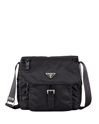 Vela Flap-Front Messenger Bag, Black