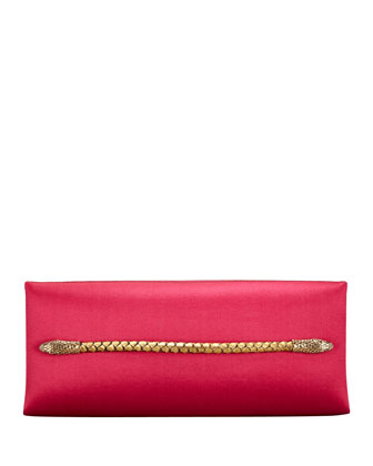 Two-Headed Serpent Hot Pink Silk Clutch